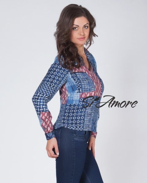 Дамска риза в синьо с щампа - Si Amore v35